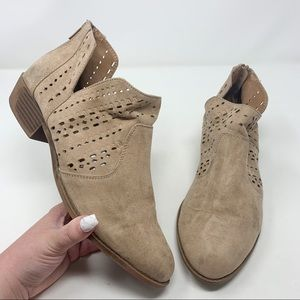 Torrid Taupe Suede Perforated Cut Out Booties